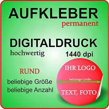 Werbe Aufkleber RUND mit Ihrem Logo Bild auf MATT WEISS Permanent Klebefolie