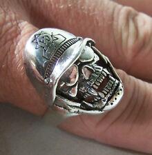 SKULL W POLICE HELMET BIKER RINGS BR117 HEAVY ring skulls mens fashion jewelry
