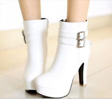 stivali stivaletti scarponcini comodi  alti donna tacco 11 cm bianco 8778