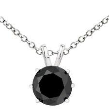 2.00 Quilate Diamante Negro Cesta Set Colgante 14K Wg Solitario Collar de Cadena