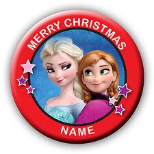 Rosso Personalizzata Calza Di Natale congelati Filler Regalo badge/magnete/SPECCHIO
