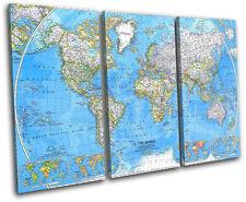 World Atlas 1981 Maps Flags TREBLE CANVAS WALL ART Picture Print VA