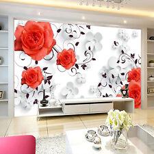 3D Rouge Fleur 259 Photo Papier Peint en Autocollant Murale Plafond Chambre Art