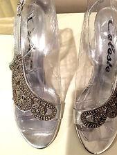 Celeste silver rhinestoned evening shoes. Charlize 03