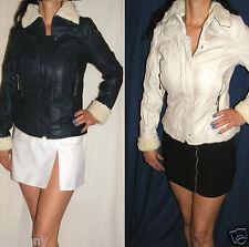 Women Winter Jacket Aviator Fur Trim Zipped Faux Leather Navy&Beige Size 8 to 14
