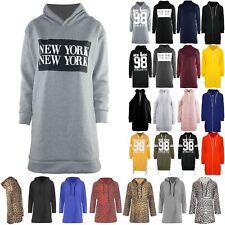 Womens Ladies Jumper New York Overhead Hooded Sweatshirt Pullover Baggy Dress