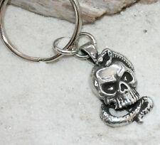 SKULL SNAKE BIKER GOTHIC Pewter KEYCHAIN Key Chain Ring