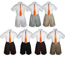 3pc Baby Boys Toddler Formal Orange tie, White Navy Black Dark Khaki Shorts Set