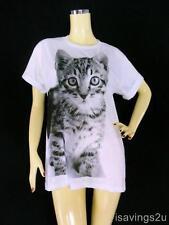 Kitty CAT T-shirt, Cute KITTEN Print ART, White Cotton S M & L Unisex, Tabby TOM