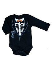 My Halloween Infant Boys Black Skeleton Tuxedo Bodysuit Creeper