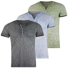 50% OFF KEY LARGO Herren T-Shirt mit Brusttasche Knopfleiste Melange Optik SALE