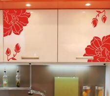 Lot de 4 Stickers Fleur Vinyle Mur Art Graphique Autocollant Tendance Décoration
