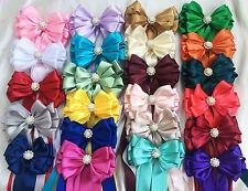 Bouquet Holder Handle Sposa Nastro Fiocco in Raso con code Jeweled Bling Centro