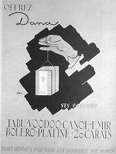 PUBLICITÉ PARFUM DANA TABU - VOODOO - CANOË - ÉMIR - BOLÉRO - PLATINE - 20 CARAT