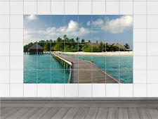 Fliesenaufkleber Fliesenbild Strand mit Wasserhaus für Badezimmer