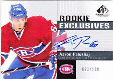 11-12  SP Game Used Aaron Palushaj  /100 Auto Rookie Exclusives Canadiens 2011