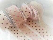 Bertie's Bows VELVET POLKA DOT Frayed Linen Ribbon - 38mm - var colours/lengths