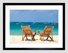 PHOTO SEASCAPE BEACH SEA OCEAN SAND CHAIR SHORE HOLIDAY SUN ART PRINT B12X8161