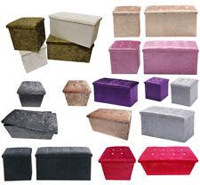 Crushed Velvet Diamante Storage Ottoman Seat Box Pouffee Foot Stool Crush Cubed
