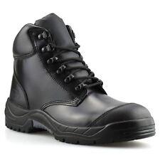 Para hombres Cuero Gorra Ejército Combate Seguridad Puntera De Acero Zapatos Botas al Tobillo Excursionista De Trabajo Talla