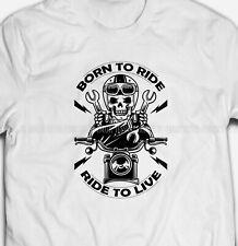 RETRO BORN TO RIDE MOTORCYCLE MOTORBIKE BIKER SKULL 100% cotton Mens T-shirt TEE