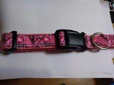 Handmade John Deere inspired pink camo Nylon Dog Collar