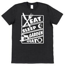 EAT SLEEP GARDEN REPEAT Men's Cotton T-Shirt Allotment Farm Fruit Vegetable Grow