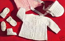 Vintage Baby Sweater Cap Booties Knitting Set Pattern w