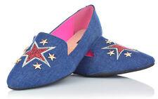 Ragazza DONNA BALLERINE SLIPPER SLIP-On Scarpe Basse Jeans Ottica ricamo 36-41