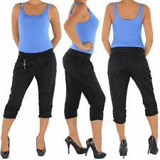 Damen Caprihose Hose 3/4 Stoff Capri Shorts Pump Chino Boyfriend Aladin 6502
