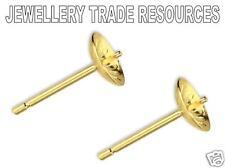 Pendiente De Oro Amarillo 9ct Zarcillos 3mm Taza Peg & Post fabricación de joyas