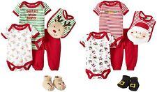 NEW Carter's Boys or Girls Christmas Set Santa 3 6 9 Months Bodysuits Bib Pants