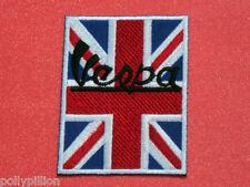 VESPA SCOOTER MOD SEW/IRON ON PATCH:- BLACK VESPA SIGNATURE GB UNION JACK FLAG