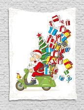 Christmas Tapestry Santa on Motorbike Print Wall Hanging Decor