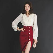 Élégant vestido traje corto rojo blanco completo traje falda camisa 3213
