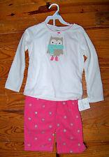 New! Girls CARTER'S 2pc White Pink Silver Cozy Fleece Polka Dot Owl Pajamas 2T