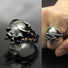 Vitnage Stainless Steel Dragon Claws Vampire Skull Men's Biker Ring Silver/Black