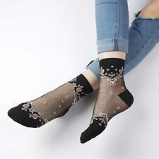 Women Transparent Thin Roses Flower Lace Socks Crystal Glass Silk Socks Gifts.UK