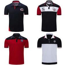 Fashion Men's Polo Shirt Short Sleeve Patchwork Polo Shirt Solid Cotton T Shirt