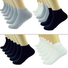 Black Gray White Ankle/Quarter Crew Mens Socks Cotton Low Cut Size 9-11 10-13