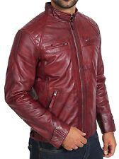 Calidad superior ajustada Para Hombre Borgoña Cuero Biker Jacket Caballeros Casual Abrigo De Piel De Cordero