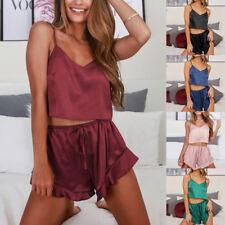 1 Set Women Sexy-Lingerie Sleepwear Satin Silk Babydoll Lace Up Nightwear Pajama
