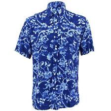 Men's Loud Shirt TAILORED FIT Floral Blue White Retro Psychedelic Fancy