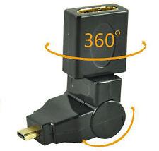 HDMI Micro macho a HDMI Femenino Adaptador gold de ángulo 90° 180° 360°
