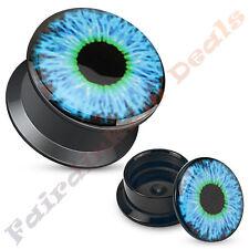 Blue Eyeball Print Acrylic Screw Fit Ear Plug Tunnel