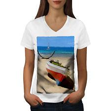 Boat Beautiful Sea Nature Women V-Neck T-shirt NEW | Wellcoda