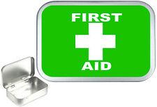 First Aid 1oz Silver Hinged Tobacco Tin, 50ml Sewing Tin, Pill Tin, Survival tin