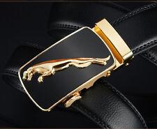 Cinturón belt de hombre en piel auténtica y hebilla de lujo con Jaguar dorado