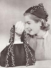Vintage Crochet PATTERN to make Beaded Beanie Hat Bag Purse 50s Carnival