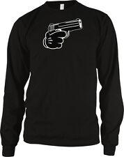 Black Gloved Hand Gun Shoot 9mm Glock Handgun Bust Cap Gang My Gat Men's Thermal